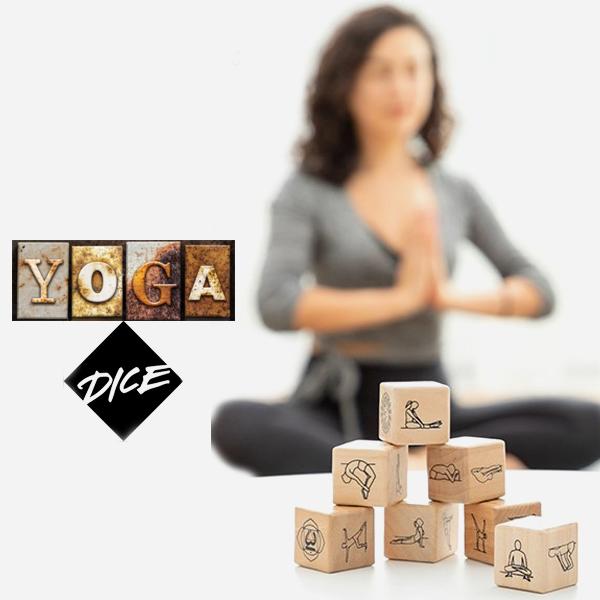 Juego de dados de madera posturas de yoga 1